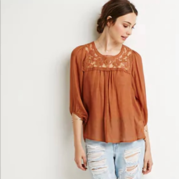 705b49f9b53fec Forever 21 Tops | Brown Orange Peasant Lace Top | Poshmark